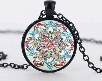 1pc Enamel Black Antique Bronze Antique Silver Flower Photo Glass Cabochon Necklace Cameo Necklace 25mm