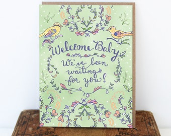 Baby Greeting Card - New Baby card, welcome baby, stationery, paper goods, waiting for baby, wholesale