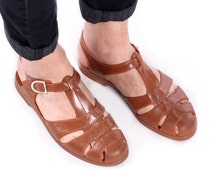 Brown Jelly Sandals 80s Mens Jellies Strappy Grecian Beach Cage Rust Sandals Fisherman Huaraches Holiday Summer Men Us 8, Eur 41.5, Uk 7.5