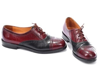 Luxury oxford BROGUE Shoes 80s BURGUNDY Red Black Leather Lace Up Manly Two Tone Cap Toe Vintage European Shoe Us women 7, UK 4.5 Eur 37.5