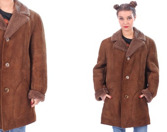 70s SHEARLING Sheepskin Coat Mens Vintage SUEDE Leather Brown Real Fur Lining and Collar Winter Overcoat 1970s Long Jacket for Men Large