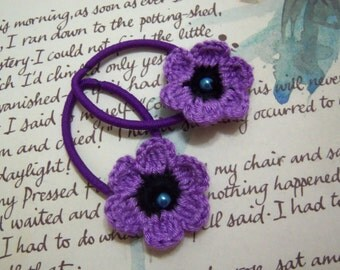 Lilac Crochet Flower Hair Ties. Set of Two.