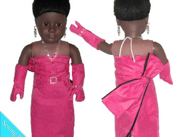 Hot Pink Diamonds Dress Sewing ePattern/PDF for 18 inch Doll [BGC 11639a]