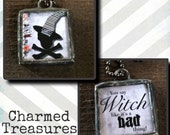 FREE SHIPPING Witch Halloween Reversible Charm Necklace