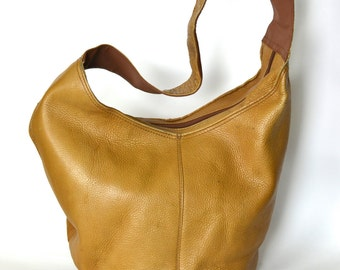 Vintage Tan Leather Bag - Large Soft Slouchy Leather Hobo Bag