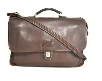 Vintage COACH Brown Leather Messenger Briefcase