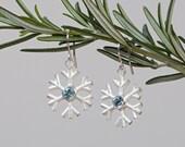 Snowflake Earrings - Blue Topaz Earrings - Silver Snowflakes - Christmas Gift - Pendant Earrings - Blue Topaz Earrings -Free Shipping