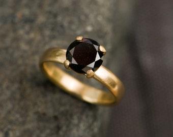 Black Diamond Ring 18K Gold Black Diamond Engagement Ring Solitaire Black Diamond Ring Handmade Engagement Ring Made to Order FREE SHIPPING