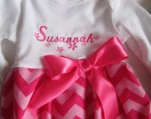Baby girl coming  home outfit layette pink on pink chevron with headwrap