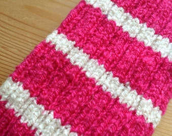 L PICC Line / IV Cover (Armband) pink, white, stripes, machine wash, intravenous, chemo, tpn, hand knit, cotton, elastic, soft, bold,magenta