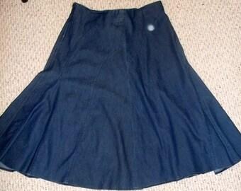 40% Off, Vintage, Denim Skirt, Boho, Festival Skirt, Size 12,  low waist skirt, Western wear,