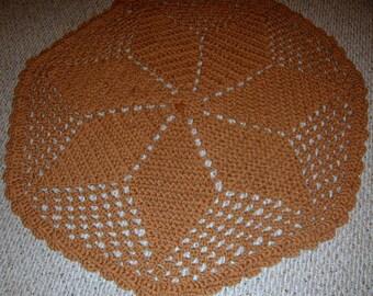 Crochet Rug, Acrylic Rug, Brown Rug, Handmade, Crochet,Crochet rug , doily rug ,  bath mat , kitchen mat , boho decor
