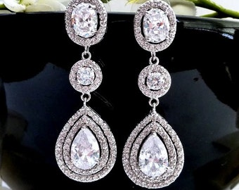 Bridal Earrings 3 Drops Large Halo Clear White Long Peardrop Round Cubic Zirconia Drops White Gold Plated CZ Oval Post Wedding Earring
