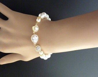 Bridal Bracelet Yellow Gold Small Peardrop Halo Round Cubic Zirconia White Pearl Wedding Bracelet Pearl Bracelet