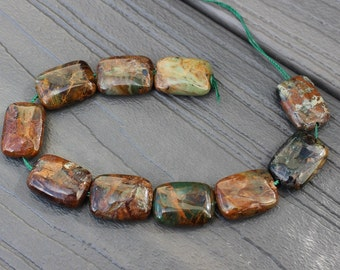 """Green """"Opal"""" Beads - 18x13mm Puffed Pillow - Natural - Grade B - Rectangle - Earth Tones - Green - Brown - Chalcedony - Qty 10 Beads"""