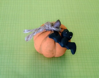 Orange Pumpkin and Bat Polymer Clay Doll Halloween Holiday Trick or Treat Figurine Miniature ooak Autumn Fall