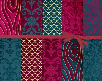 50% off:Burgandy and Blue digital paper, Teal and Burgundy Digital Paper, Burgandy and Gold Digital Paper, Teal Digital Paper, #15040