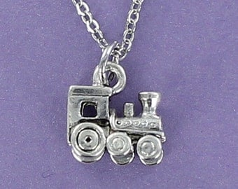 TOY TRAIN Necklace - Pewter Charm on a FREE Plated Chain 3D
