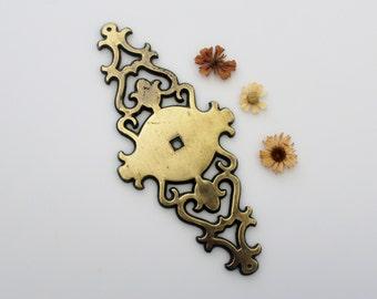 Vintage Brass Hardware - Furniture Detail Restoration - Ornate Brass Escutcheon Plate