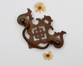 Vintage Rusty Drawer Pull - Furniture Hardware Restoration - Ornate Handle Repurpose