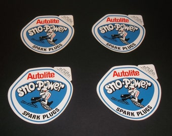 Lot of 4 Autolite Sno-Power Spark Plug Decals