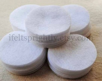 2.5 Inch Die Cut Felt Circles in White, OR your choice of colors, Set of 50