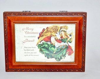 "Saynko Picture Frame Christmas ""Hark The Herald"" Jewelry Trinket Music Box"