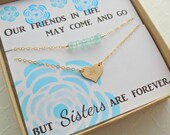 Sisters heart necklace Best friends double strand layering jewelry gold fill heart with personalized initial special message gift card chic