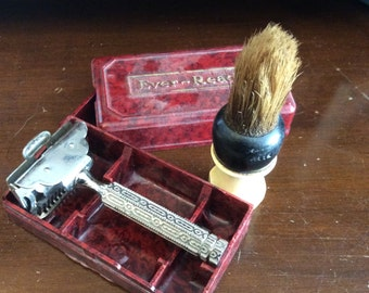 vintage men toiletries ... Vintage RAZOR Case and SHAVING BRUSH  shaving collectibles    ...