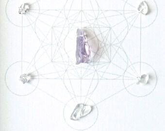 Crystal Grid -- BE HERE NOW -- framed  -- amethyst, quartz, sacred geometry