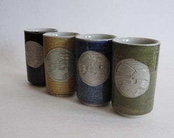 Set of Four Pottery Saki Cups