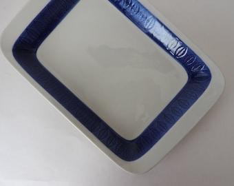 Rorstrand Swedish Modern Pottery  Platter in Koka Blue Pattern