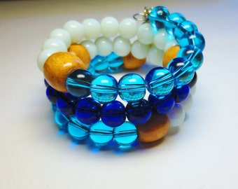 Wrap Rosary Bracelet in Blue and White