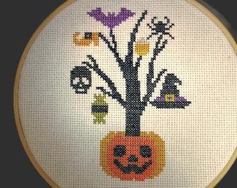 Halloween tree finished cross stitch, jack o lantern completed needlework, witch, skull, candy, pumpkin, bat cross stitch in hoop, handmade