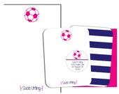 Girls Pink Soccer Personalized Stationary Set With Labels Girls Notecards Soccer Notepad Soccer Stationary Soccer Gifts Kids Stationary