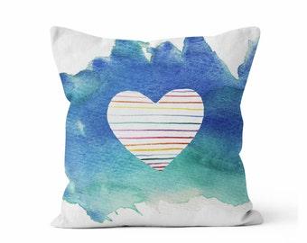 Pillow, Blue Teal Rainbow Pillow,  Striped Heart Pillow,  Throw Pillow COVER w/optional insert, Accent Throw Pillow, Watercolor Art,  Pillow