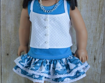 Seaside Skirt and Shorts Set for 18 Inch Dolls Like American Girl and Similar Sized Dolls
