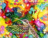 "Hummingbird Magic, An Original 4"" x 4"", Hand Painted, Alcohol Ink Tile with Frosted Display Easel"