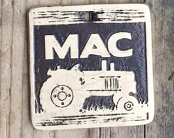 Tractor Dog Tag / Pet Tag / Dog ID Tag / Farm Dog Tag / Tractor Etched Brass Pet Tag