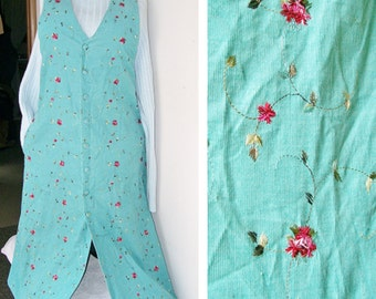 1970's Embroidered CORDUROY JUMPER Teal Mint Floral Handmade Button front Midi Sz 14/16 Dress