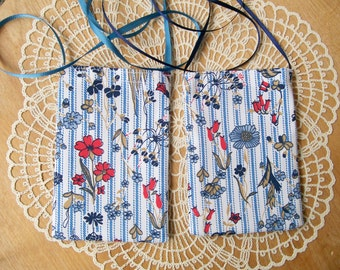 Blue Ticking CELLPHONE POUCH Wild Flowers Neck Bag Android IPhone Pocket - Ships free in US