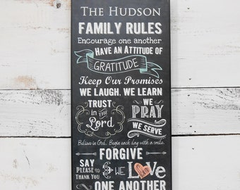 Personalized Family Rules Sign: Personalized with Family Name