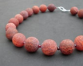 Matte Fire Agate Red Orange Color 18mm,  Gemstone Red Garnet 4mm - 925 Sterling Silver Necklace, Chunky Necklace