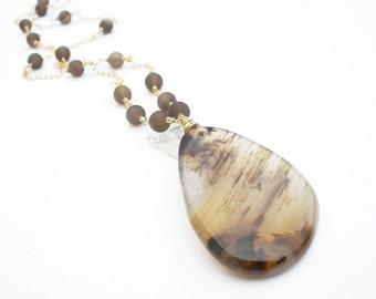 Large Madagascar Scenic Agate Pendant, Matte Smoky Quartz, 14kt Yellow Gold Filled Wire Wrap Necklace, Dentrite Agate Necklace