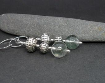Phantom Quartz Earrings, 925 Bali Sterling Silver, Green Phantom Quartz 10mm Round Shape