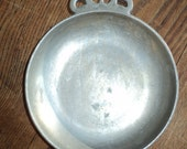 Solid Pewter Bowl for pocket change and keys with wonderful well aged patina in Good Vintage Condition, Made in the USA  with many stamps