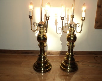 2 Vintage Bouillotte Lamps, 2 Matching Brass Lamps which look like table top chandeliers or old fashioned candelabras in Good Condition