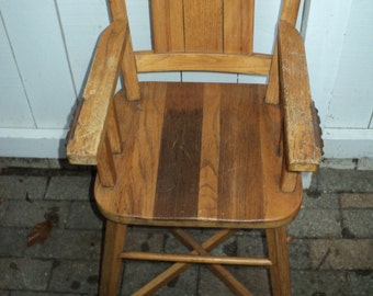Antique Rustic Country Style Oak High Chair without tray, Solid Oak Construction with  Phoenix maker's stamp, Rustic Country Chic