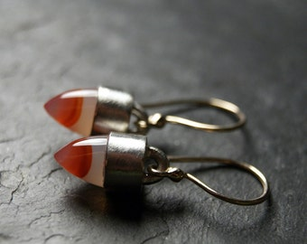 Mixed Metals Carnelian Agate Earrings in Recycled 14kt Yellow Gold and Sterling Silver