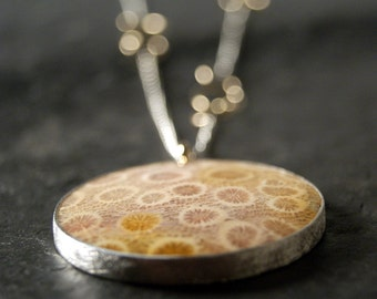 Mixed Metals Fossilized Coral Necklace in Sterling Silver and 14kt Yellow Gold...ooak